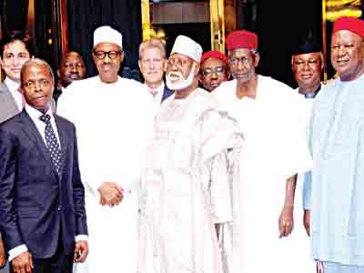 President Muhammadu Buhari (second left);Vice President Yemi Osinbajo (left); former head of state, Gen. Abdulsalami Abubakar; Chief of Staff to the President, Alhaji Abba Kyari;former Secretary to Government of the Federation (SGF), Chief Anyim Pius Anyim; and others at the meeting of members of the Board of Centenary City Project with the Presidentat the Presidential Villa, Abuja … yesterday. PHOTO: SADIQ ALHAJI ALIYU