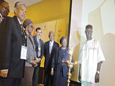 Lagos State Deputy Governor, Dr. Idiat Oluranti Adebule(second right) flanked by other dignitaries at the opening of a three-day exhibition of Indian products in Lagos. PHOTO:DEBO OLADIMEJI