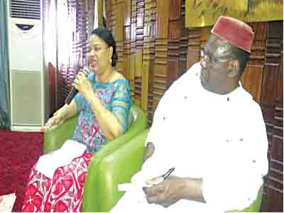 Mrs. Keshi (left) and Tomoloju… during the media parley at the National Theatre, Iganmu, Lagos