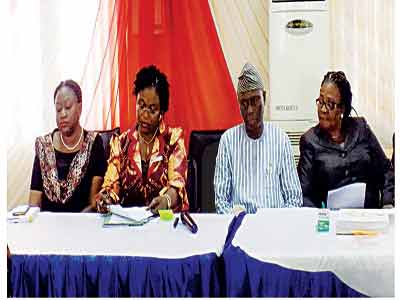 Director Training, Local Government Establishment and Training, Mrs. Oluwatosin Adegun (left), Director General, PSSDC, Mrs. Olubunmi Fabamwo, Permanent Secretary, Local Government Service Commission Mr. Adewale Ashimi and Mrs. Bamidele Akinyemi, Director Management Development and Consultancy Services, PSSDC at the event