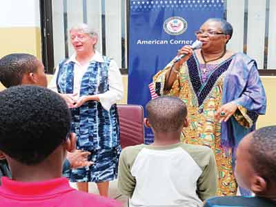 Director General of National Centre for Women Development (NCWD), Onyeka Onwenu (right) and Information Resource Officer, U.S. Mission in Nigeria, Linda Parker during a summer reading project in collaboration with the U.S. Mission... recently