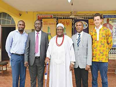 Brand Manager Goldberg, Mr. Mfon Bassey (left); Regional Business Manager Ibadan, Mr. Joseph Bodurin; His Royal Majesty, the Ataoja of Osogboland, Oba Jimoh Oyetunji; Public Affairs Manager West, Mr. Tayo Adelaja; and Trade Marketing Manager, Nigerian Breweries Plc, Mr. Fredrick Van Os during a stakeholders' forum held in Osogbo recently