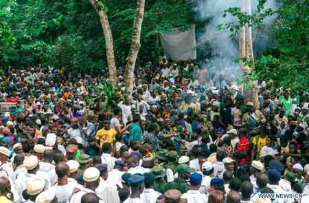 orshippers take part in the Osun Osogbo festival, or the river goddess festival, in Osogbo, capital of southwest Nigeria's Osun State....The festival has gained a global recognition to such an extent that the Osun Grove was enlisted as a world heritage site in 2005. (Xinhua/Zhang Weiyi)