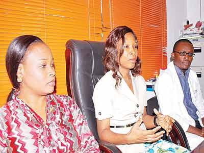 Administrative Manager, Rainbow Specialist Medical Centre; Dosunmu Yemisi(left), Project Coordinator, Diabetes Podiatry Initiative Nigeria and Medical Director of the Centre, Dr. Afoke Isiavwe and Rainbow's Senior Medical Officer, Dr. Akaeme Gregory at a press conference on the Podiatry and Diabetes Foot Care workshop organised by the Centre in collaboration with the Podiatry Institute USA at the World Diabetes Foundation in Lagos.                                                                   PHOTO: AYODELE ADENIRAN