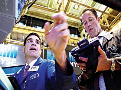 Stockbroker on floor of New York Exchange