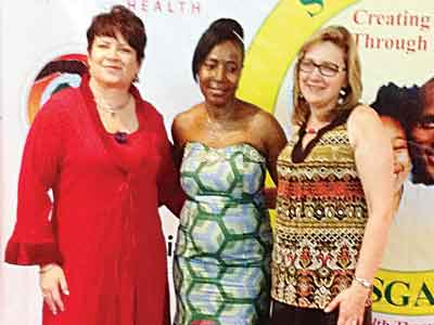 Chief Executive Officer, Swissgarde, Cornelle Van Graan (left), Managing Executive, Nigeria, Lovelyn Nwarueze, and the Sales and Marketing Director for Africa, Debbie Botha, at the award/dinner night