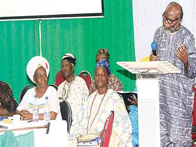 Madame Mere Jah Evejah; some Badagry chiefs and Gen. Ishola Williams speaking on African religions at the International Symposium on L'ouvertue last Saturday… in Badagry