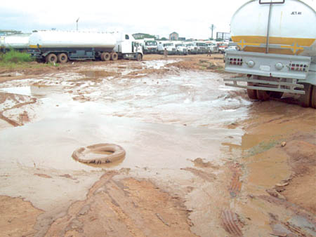 A section of the park tanker drivers say is unsuitable PHOTO: PAUL ADUNWOKE