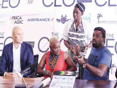 Arthur Dieffenthaler, Commercial Manager, Air France KLM; Grammy Award winning artiste, Angélique Kidjo, and filmmaker Kunle Afolayan during a press conference on Afolayan's new movie, The CEO, in Lagos