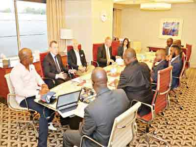 West Ham United's Chairman/Managing Director, Angus Kinnear (second left), explaining the workings of the club to the Nigeria League One (NLO) delegation, led by Ifeanyi Ubah (second right) and NLO chairman, Ahmed Kawu (third right), during a meeting in the club's boardroom… at the weekend.