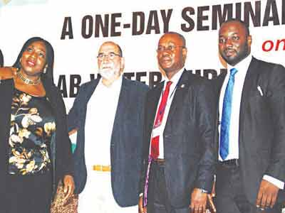 Chief Executive Officer, Katchey Company Limited, Kate Isa (left); Marketing Director, Merck Millipore, Dr, Maurice Memmi; Director, Labouratory Services, Standard Organisation of Nigeria (SON), Louis Njoku; and Country Sales Manager, (Chemicals) Merck Pharmaceuticals and Life Sciences Limited, Kingsley Udoakpan at the One Day seminal/Workshop on Lab Water Technologies in Ikeja, Lagos …yesterday                                                 PHOTO: FEMI ADEBESIN-KUTI