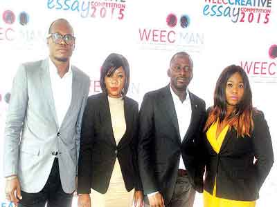 Chief Executive Officer Curves Communication Adeola Odunowo ((left); CEO Beez Ideaz Company Abiodun Adegoke, Head Coordinator, Women Empowerement Kayode Odukoya, and CEO, Ocean 27, Barr. Lovetta Iwelu, during the press briefing for WEEC Creative Essay Competition 2015 in Lagos.                                                             Photo: Lamidi Bamidele