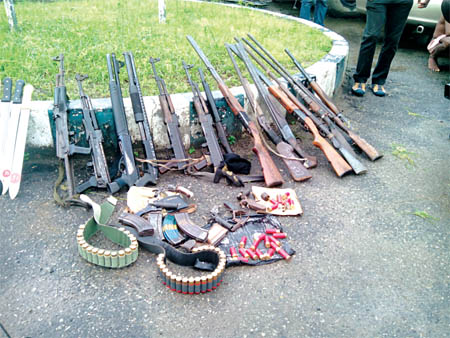 Instruments of death: Arms and ammunition allegedly recovered from suspected cult members in Rivers State...recently                       PHOTO: DAILYPOST.NG