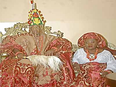 His Royal Majesty, Oba Adewale Shotobi Adegorushen V, the Ayangburen of Ikorodu and his wife, Olori Kudirat , during his  coronation ceremony, yesterday
