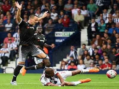 John Terry was sent off for this last-man offence on Salomon Rondon as Chelsea. Photo credit Getty Images
