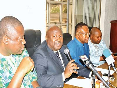 National President/Chairman, JOHESU and Medical and Health Workers' Union of Nigeria, Comrade Biobelemoye Joy Josaiah (left); President Pharmaceutical Society of Nigeria, Olumide Akintayo; Chairman, Assembly of Healthcare Professional Associations (AHPA), Dr. Godswill C. Okara and Secretary General, Medical and Health Workers' Union of Nigeria, Omokhuale I. Marcus at the Joint Health Sector Unions media briefing in Lagos…yesterday                                                                                               PHOTO: OSENI YUSUF