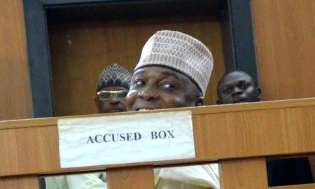 Saraki in the witness box at the Code of Conduct Tribunal today