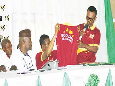 Hon Sergius Oseasochie Ogun (left) with SOO Live The Dream team during the official unveil