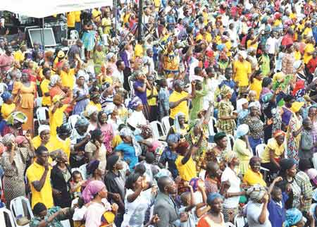 Cross section of worshippers at the ongoing Lagos City-Wide Crusade organised by Deeper Christian Life Ministry (DCLM) in conjunction with Christian Association of Nigeria (CAN) and Pentecostal Fellowship of Nigerian (PFN) held atAjegunle, Lagos