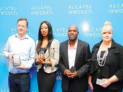 Director Sales, Africa, Alcatel Onetouch, Julien Fourit (left); Managing Director, TD Mobile, Gozy Ekeh-Ijogun; Regional Director for Nigeria and Central Africa, Alcatel Onetouch, Nick Imudia, and Senior Area Marketing Manager for Africa, Alcatel Onetouch, Kath Smith, at the re-launch of the Alcatel Onetouch brand in Nigeria.