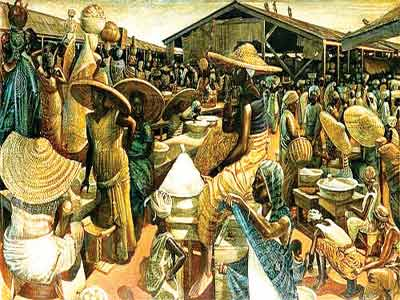 'Kumasi Market' (1962, Oil and acrylic on masonite board, 1962. 863x1524 mm; 34x60 inches) by John Biggers (1924 - 2001)