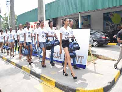 Contestants getting ready to walk on the runway at the casting for Aquafina Elite Model Look 2015 held at the Eko Hotel and Suites.