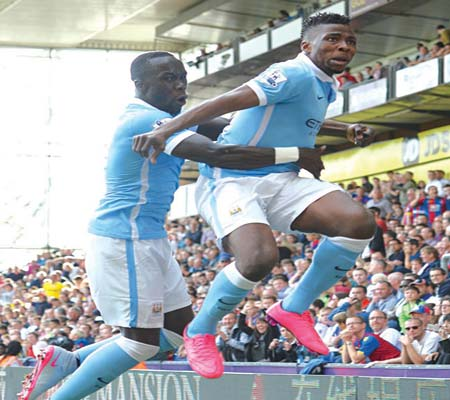 Kelechi Iheanacho (right) celebrates after scoring the winning goal during the Premiership match against Crystal Palace…yesterday. PHOTO: AFP