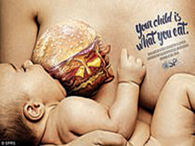 Disturbing: An advertising campaign for Brazilian pediatric organization SPRS shows pregnant mothers the harmful effects their diets can have on their unborn babies… The ads show infants suckling on breasts illustrated with cheeseburgers, doughnuts and soda, along with the tagline 'Your child is what you eat'