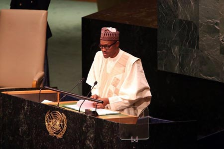 President Buhari addressing the 70th session of the United Nations General Assembly in New York, on Tuesday