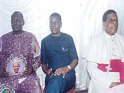 Dr. Chike Akunyili (left) CMD, UNTH, Dr. Chris Amah and Catholic Bishop of Nsukka Diocese, Prof. Godfrey Onah; at the Prof. Dora Akunyili's first memorial lecture jointly presented by former Minister for Power, Prof. Chinedu Nebo and erstwhile Governor of Anambra State, Peter Obi; in Enugu.