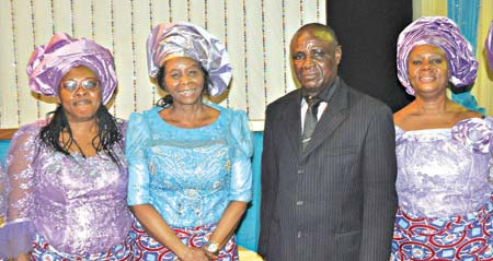 Mrs. Ngozi Joseph (left), National/ International Coordinator of Christian Pentecostal Mission International (CPM), Rev Mercy O. Ezekiel; Rev. Donatus Obi and Mrs. Florence Obi at the opening ceremony of Women of Vision International Conference (WOVIC 2015) held at CPM Head-quarters Church in Lagos.