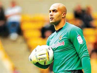Wolverhampton Wanderers' Carl Ikeme stood against the Taifa Stars of Tanzania in yesterday's match.