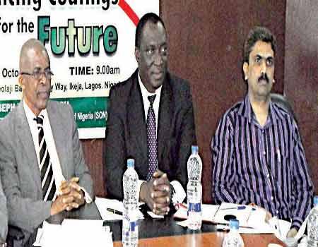 Mr. Abimbolu Babatunde (left), Mr. Jude Maduka, Mr. Rotimi Aluko and Mr.Rahul Jagdale, Head Manufacturing, Berger Paints during a press