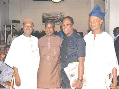 Deputy Editor, Sunday Sun, Emeka Okoroanyanwu (left); CEO, Bee Conservation, Tunde Fabunmi; General Editor, Sun Newspapers, Kunle Solaja and Ogbeni Goke Odeyinka, all former Concord Press staff at a reunion of Great Concord Family held recently in Lagos.
