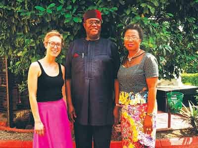 Visiting scholar, Johanna Wild (left); Prince Yemisi Shyllon and Mrs. Funmilayo Shyllon, shortly after the lecture