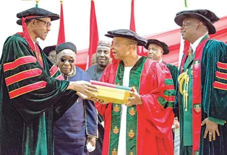 President Muhammadu Buhari (left); Nigeria's former Permanent Representative to the United Nations, Alhaji Maitama Sule; Commandant, Nigerian Defence Academy (NDA), Maj. Gen. M.T. Ibrahim (right), during the conferment of an Honorary Doctor of Management Sciences degree on Lt. Gen. I. A. Akinrinade (middle) at the NDA convocation in Kaduna…yesterday. PHOTO: PHILIP OJISUA