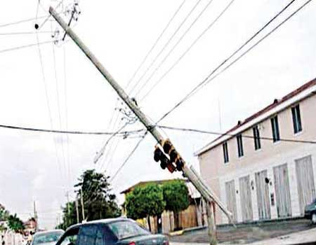 .A falling electric pole