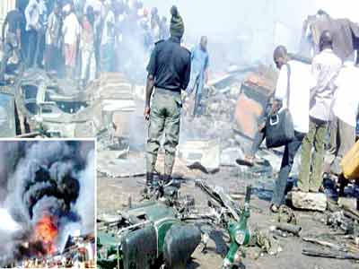 Scene of the explosion that hit an Internally Displaced Persons (IDPs), camp located at a warehouse in Molkohi, Yola Local Council Area of Adamawa State … yesterday. PHOTO: DAILY POS