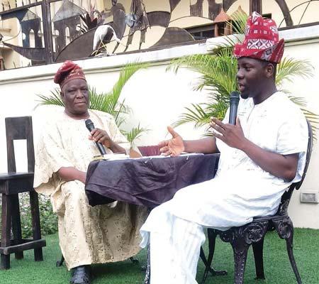 Yoruba Lakotun conveyer Olutayo Irantiola holding a conversation with Yoruba language author Mr. Omo Oba Olusesan Ajewole at Ethnic Heritage Centre, Ikoyi last Sunday… in Lagos
