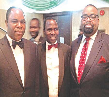 Chairman, Skye Bank Plc, Dr. Olatunde Ayeni (left); Managing Partner, Royal Heritage, Prince Aderemi Adekile and Managing Partner, Templars, Mr. Olumide Akpata on the Red Carpet at the Esq. Nigerian Legal Award, 2015 at Muson Centre, Lagos weekend.