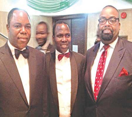Chairman, Skye Bank Plc, Dr. Olatunde Ayeni (left); Managing Partner, Royal Heritage, Prince Aderemi Adekile and Managing Partner, Templars, Mr. Olumide Akpata on the Red Carpet at the Esq. Nigerian Legal Award, 2015 at Muson Centre, Lagos weekend.