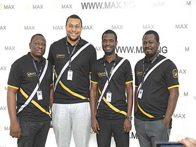 Ayodeji Kurunmi, Director; Chinedu Azodoh and Adetayo Bamiduro Co-founders and Emmanuel Tarfa, Director at the unveiling of MAX.ng in Lagos last week.