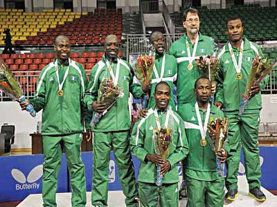 Nigerian men's Table Tennis squad celebrating their team event gold medal at the on-going All Africa Games in Congo… yesterday