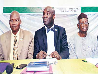 NITP president, Dr. Femi Olomola (left); Immediate past president, Association of Town Planners Consultants of Nigeria (ATOPCON), Mr. Moses Ogunleye and president, Town Planners Registration Council of Nigeria, Prof. Layi Ogunjobi during the annual general meeting of ATOPCON in Lagos, recently