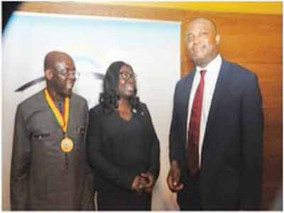 President, Nigerian Association of Petroleum Explorationists (NAPE), Chikwe Edoziem; Head, Corporate Banking, Skye Bank Plc., Mrs. Funmilola Oketogun and President-elect, NAPE, Nosa Omorodion; at the NAPE August Technical/Business Luncheon sponsored by Skye Bank in Lagos.