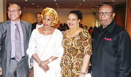 Ambassador Joe Keshi (right); D.G, NCAC, Mrs. Dayo Keshi; Dr. Anthonia Ashiedu and the keynote speaker, Prof. Pat Utomi at Forum held last Wednesday… in Abuja