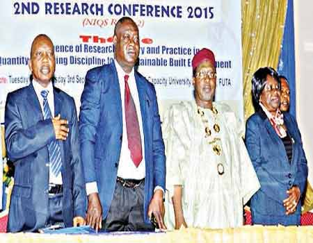 FUTA VC, Prof. Adebiyi Daramola (left); Gray Eshophonen, representative of the Executive Governor of Ondo State); NIQS President, Mallam Murtala Aliyu and Deputy President, Mrs. Mercy Iyorther during the opening ceremony of the three-day Research Conference organised by NIQS at Akure, Ondo State, recently