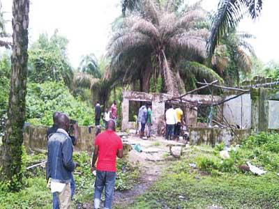 Red Beret militants' den at Odimodi destroyed by JTF PHOTO: CHIDO OKAFOR