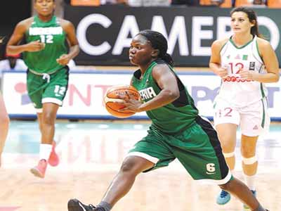 Patience Okpe goes for the basket during Nigeria's game against Algeria…yesterday.