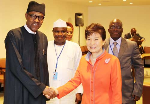 President Muhammadu Buhari, Sokoto State Governor, Rt Hon Aminu Tambuwal, President, Republic of Korea, Her Excellency, Mrs Geun-Hye Park and the Permanent Secretary Ministry of foreign Affairs, Ambassador Bulus Z. Lolo after a bilateral meeting during the 70th Session of the UN General Assembly in NEW YORK. . SEPT 27 2015.